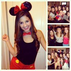 """First Letter of Your Name"" Halloween theme party. A Melissa could dress up as Minnie. A Christina could dress up as a cat. Fall Halloween, Halloween Party, Halloween Costumes, Minnie Mouse Costume, Mickey Costume, Mickey Mouse, Social Themes, Kappa Delta, Maquillage Halloween"