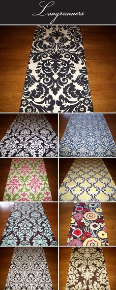 Damask and graphic pattern wedding table runners, black and white, tiffany blue and mocha, yellow, black and white wedding decor