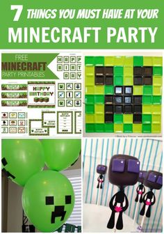 Here's 7 awesome Minecraft party ideas: Minecraft party free printables, Creeper balloons. Minecraft cake, Minecraft dessert table, Minecraft brewing station, Easy Minecraft backdrop, and Endermen cake pops.
