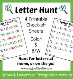 Letter Hunt - Letter Recognition Game - FREE Printable; plus links to 4 more FREE letter games.