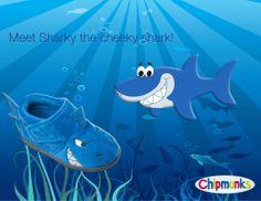 Meet Sharky our cheeky shark!  Coming soon!  #Shark #Slippers #Childrens #Footwear #Chipmunks