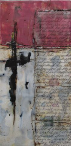 encaustic mix media witth written language - Google Search