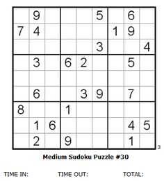 Medium Sudoku Puzzle #30 ( see Sudoku Puzzle solutions for answers )