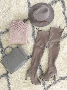 StylishPetite.com | Stuart Weitzman highland over the knee boots, grey wool hat, blush pink chunky knit sweater, Ann Taylor signature mini tote, fall outfit, pink and grey
