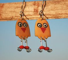 Handpainted funny yellow bird chicken dangle by HorakovaDesigns, $21.00