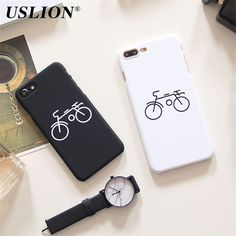 >> Click to Buy << Fashion Simple Case For iPhone 7 7 Plus 6 6s Plus 5 5s SE Black White Cute Cartoon Bicycle Hard PC Hard PC Phone Case Cover Bags #Affiliate