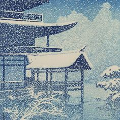 Today's is a snowy scene of Kinkakuji in Japan. This woodblock print of snow falling on a temple and lake is from a series of views of Japan by artist Kawase Hasui from 1922 Art Occidental, Hokusai, Japanese Woodcut, Art Chinois, Art Asiatique, Art Japonais, Art Et Illustration, Japanese Painting, Chinese Painting