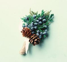 Winter wedding boutonniere Dried greenery bout by whichgoose
