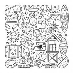 Gohsantosa2 | Freepik Doodle Books, Doodle Pages, Doodle Art Journals, School Coloring Pages, Cute Coloring Pages, Doodle Coloring, Cute Doodle Art, Doodle Art Drawing, Cute Doodles