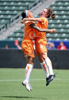 3adf87c432a Natasha Kai Photos - Heather O Reilly of New Jersey Sky Blue FC celebrates  her goal with Natasha Kai for a lead over the Los Angeles Sol during the  first ...