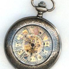 Steampunk - DELUXE SHERLOCK HOLMES -  Pocket Watch - Mechanical - Large - Skeleton Style - Necklace ... | GlazedBlackChe