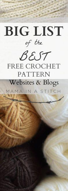 BIG List of Free Crochet Pattern Blogs & Websites – Mama In A Stitch, #haken, lijst met links voor gratis patronen (Engels), #haakpatroon