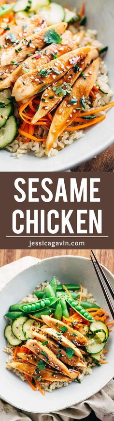 Restaurant-Style Japanese Sesame Chicken - A simple 5 ingredient sesame soy glaze adds bold authentic flavors to the dish! | jessicagavin.com