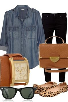 jean shirt/black skinny/animal print flats/camel colored accessories/black sun glasses