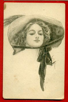 WOMAN-BY-HARRISON-FISHER-6-PUBLISHER-RUSSIAN-VINTAGE-POSTCARD-1668