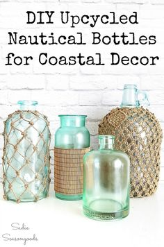 Making your own beach bottles or nautical bottles for summer decorating or beach house decor is easier than you may think! Bottles from the thrift store or your recycling bin get different kinds of makeovers with wonderfully coastal results. Perfect for that beach cottage look without spending a lot of money. #coastalliving #nauticaldecor #beachdecor #coastaldecor #nauticalhomedecor #winebottlecrafts #glassbottles #decorativebottles #beachhousedecor #beachcottagedecor