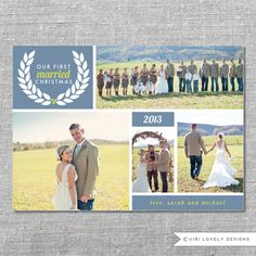 Photo Holiday Card   Printable   Our First Married Christmas   First Xmas as Mr. and Mrs.   Newlyweds   5x7