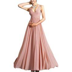 2015 Summer Style Sexy V Neck Dress Solid Chiffon Spaghetti Sleeveless Vestidos Maxi Long Party Dress Plus Size S M L.$25.