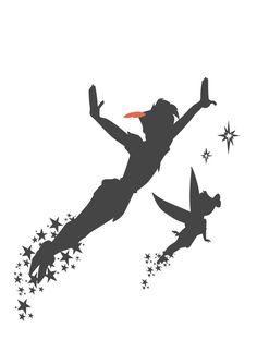 "like the never grow up idea. peter pan tattoo id.- like the never grow up idea. peter pan tattoo idea, with the saying … like the never grow up idea. peter pan tattoo idea, with the saying ""never grow up"" - Peter Pan Silhouette, Disney Peter Pan, Peter Pan And Tinkerbell, Trendy Tattoos, Cool Tattoos, Peter Pan Tattoos, Disney Tattoos Peter Pan, Neverland Tattoo, Tatuaje Peter Pan"