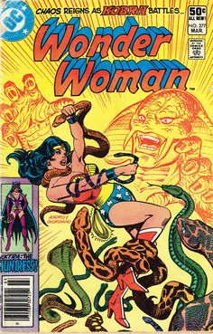 """Wonder Woman Comic # 277 Date Published: March 1981 Publisher: DC Comics Condition: VG+  Description: He holds the whole world in his hands...his name is Kobra...and he is mad! In this issue chaos reigns a Kobra fights Wonder Woman. Also The Huntress stars in """"Secrets, Secrets Everywhere!"""" By Gerry Conway. Art by Jose Delbo And Dave Hunt."""