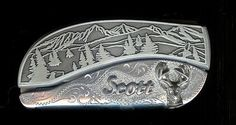 Tree Scene Engraved Scroll With Sterling Silver Name Scott & Buck Belt Buckle - Add Your Own Name.