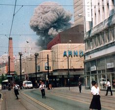 """apostlesofmercy: """"Market Street, Manchester, England - 15 June At am a kg) truck bomb was detonated on one of the cities busiest streets, creating the billowing smoke plume. I Love Manchester, Manchester Central, Manchester City Centre, Manchester England, Manchester Police, Manchester Buses, London History, British History, Manchester Bombing"""