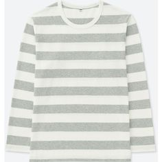UNIQLO Men's Washed Striped Long-sleeve T-Shirt (25 AUD) ❤ liked on Polyvore featuring men's fashion, men's clothing, men's shirts, men's t-shirts, grey, uniqlo men's t shirts, mens wide neck t shirts, mens striped long sleeve t shirt, mens loose fit swim shirt and mens gray dress shirt