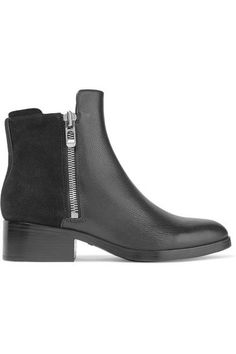 3.1 Phillip Lim - Alexa Textured-leather And Suede Ankle Boots - Black