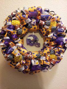 Minnesota Vikings Wreath Vikings Football, Minnesota Vikings, Flower Pot Crafts, Flower Pots, Wreaths For Front Door, Door Wreaths, House Divided Wreath, Sports Wreaths, School Spirit