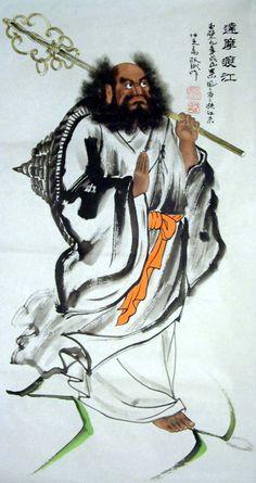 Bodhidharma, Damo, Daruma - Crossing the Yangzi on a reed