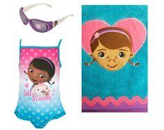 Disney Doc Mc Stuffins Girls Cute & Cuddly Swimsuit PLUS Towel & Sunglasses Sizes 4 and 5 #DocMcStuffins