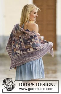 "Knitted DROPS shawl with Domino squares in ""Fabel"". ~ DROPS Design"