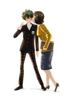 By (Persona My Hero Academia Crossover) Hero Academia Characters, My Hero Academia Manga, Boku No Hero Academia, Persona 5 Anime, Persona 5 Joker, Persona Crossover, Anime Crossover, Akira Kurusu, Cute Couple Cartoon