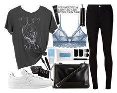 """""""we're human tonight"""" by velvet-ears ❤ liked on Polyvore featuring adidas, OBEY Clothing, AG Adriano Goldschmied, Only Hearts, Carven, Korres, Skyn Iceland, NARS Cosmetics, T3 and Noir Cosmetics"""