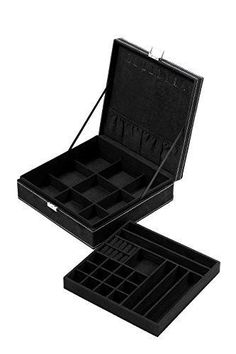 Juvale Two Layer Removable Jewelry Box Organizer Display Storage Case with Lock Black 10.5 x 10.5 x 3.5 Inches