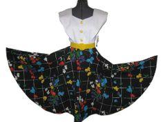 Vintage NOS 80s Does 50s Rockabilly Black White Floral Full Circle Belted Dress