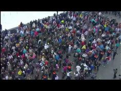 Flash mob in Moscow, Russia 26.02.12 - YouTube. Almost too organized, buuut I like it.