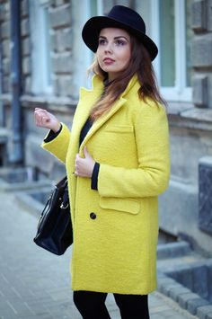 A PIECE OF ANNA - blog modowy, blog o modzie, blogerka z lublina: YELLOW COAT & BLACK BASE