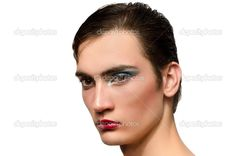 2000s Makeup men | Man wearing make up, Portrait of a drag queen, half face with make-up ...