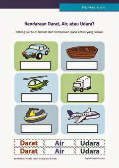 permainan gunting anak balita/TK, membedakan kendaraan darat, air, udara