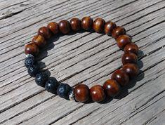 Lava Stone Diffuser Bracelet, Wood bracelet, Essential Oil Bracelet, Gift for her, Gift for him by PurpleMoonJewelryCA on Etsy