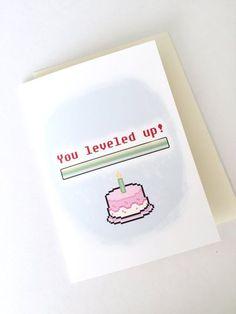 Level Up Birthday Card // Geeky Birthday Card // Gamer Greeting Card // 8 Bit Card Art . - Level Up Birthday Card // Geeky Birthday Card // Gamer Greeting Card // 8 Bit Card Art Card // Retr - Bday Cards, Birthday Cards For Friends, Funny Birthday Cards, Handmade Birthday Cards, Diy Birthday, Birthday Greetings, Birthday Gifts, Card Birthday, Birthday Ideas