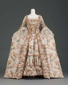 1770, France Robe à la Française Silk cannelle patterned with weft floats and brocaded with silk thread MFA