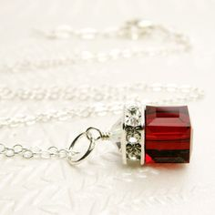 Red Necklace Garnet Crystal Pendant Sterling Silver by fineheart, $36.00