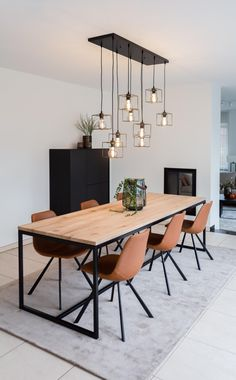 Dining Room Design, Dining Room Table, Modern Dining Room Furniture, Dinning Room Lights, Modern Rustic Dining Table, Light Wood Dining Table, Diy Furniture, Dining Table Chandelier, Industrial Style Dining Table