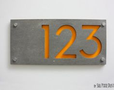 Modern House Numbers, Rectangle Concrete with Yellow Acrylic - Contemporary Home Address - Sign Plaque - Door Number