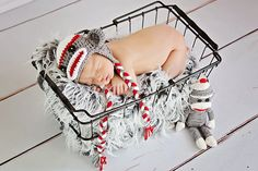 White, Red & Dark Gray Sock Monkey Earflap Hat with Matching Doll - Newborn Baby Boy or Girl Photography Photo Prop - Ready to Ship. $35.00, via Etsy.