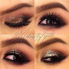 Bronze smokey glitter eyeshadow!!