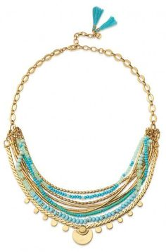 Embrace bohemian style with a necklace decorated with stones and beads on a gold chain. Compliment your outfit with this vintage necklace from Stella & Dot.