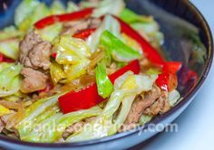 GINISANG REPOLYO=  Ingredients 1 medium cabbage, chopped 4 ounces pork, sliced 1 medium yellow onion, sliced 1 small red bell pepper, sliced 4 cloves garlic, crushed and minced 3 tablespoons cooking oil 1 cup beef broth Salt and pepper to taste =====